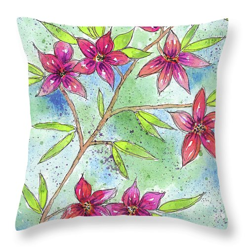 Watercolor And Ink Throw Pillow featuring the painting Blooming Flowers by Susan Campbell