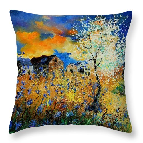 Poppies Throw Pillow featuring the painting Blooming Trees by Pol Ledent