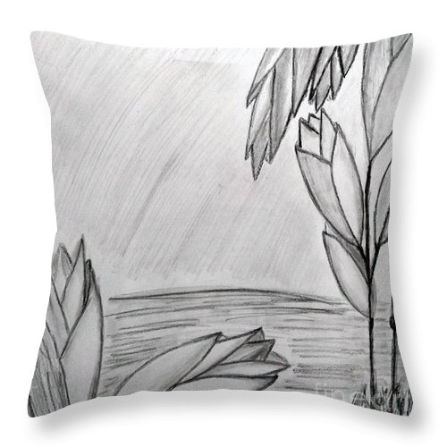 Blooms Throw Pillow featuring the drawing Blooms by Janet Ledbetter-Eck
