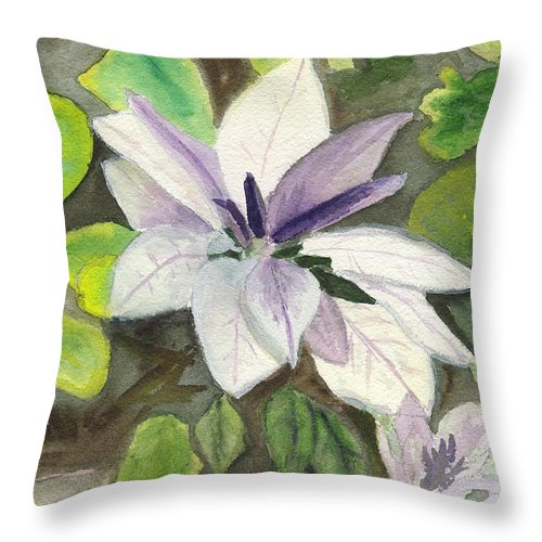Blossom Throw Pillow featuring the painting Blossom At Sundy House by Donna Walsh