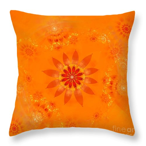 Fractal Throw Pillow featuring the digital art Blossom In Orange by Richard Ortolano