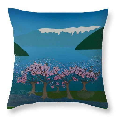 Landscape Throw Pillow featuring the mixed media Blossom In The Hardanger Fjord by Jarle Rosseland