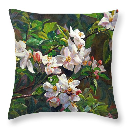 Flower Throw Pillow featuring the painting Blossom Of My Heart by Svitozar Nenyuk