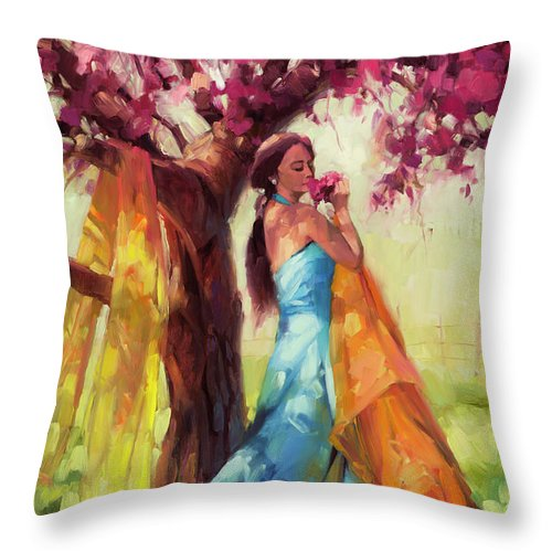 Country Throw Pillow featuring the painting Blossom by Steve Henderson