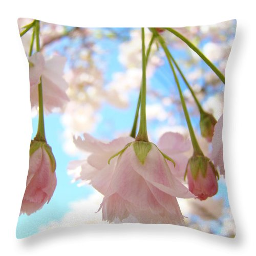 �blossoms Artwork� Throw Pillow featuring the photograph Blossoms Art Prints 52 Pink Tree Blossoms Nature Art Blue Sky by Baslee Troutman