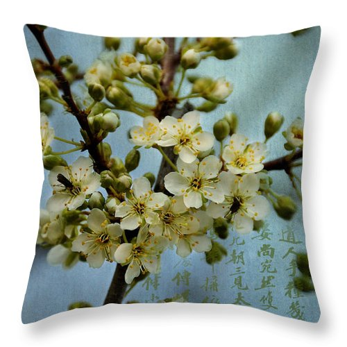 Blossoms Throw Pillow featuring the digital art Blossomtime by Nancy Morgantini