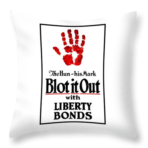 Liberty Bonds Throw Pillow featuring the mixed media Blot It Out With Liberty Bonds by War Is Hell Store