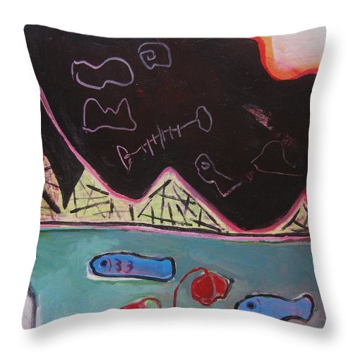 Blow Me Down Painting Throw Pillow featuring the painting Blow Me Down11 by Seon-Jeong Kim