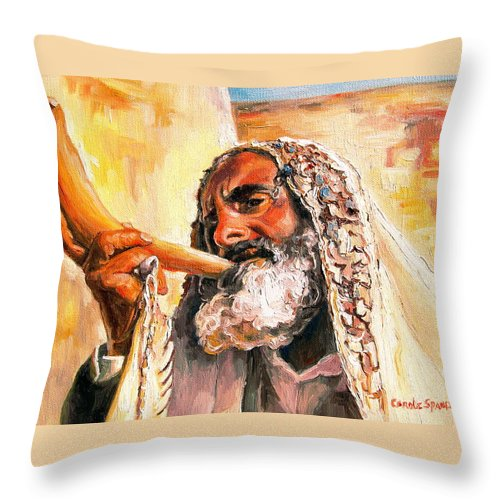 Rabbis Throw Pillow featuring the painting Blow The Trumpet In Zion by Carole Spandau