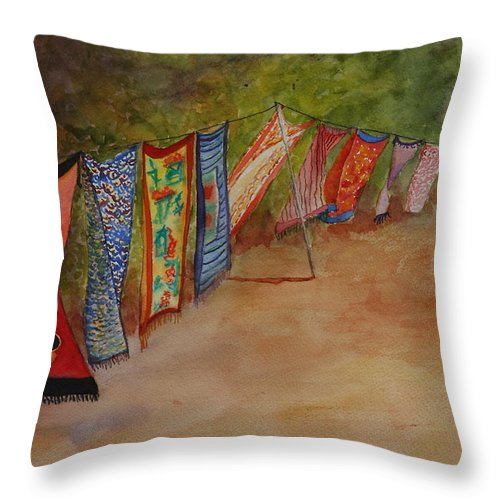 Sari Throw Pillow featuring the painting Blowin' In The Wind by Ruth Kamenev