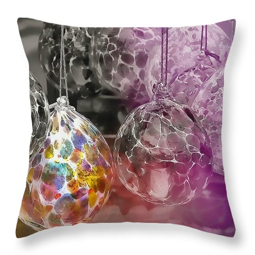 Ornament Throw Pillow featuring the photograph Blown Glass Ornaments by JAMART Photography