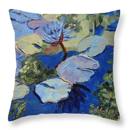 Lilies Throw Pillow featuring the painting Blu I by Barbara Andolsek