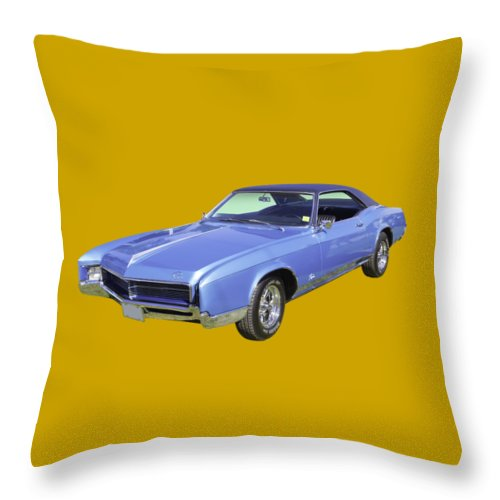 1967 Buick Riviera Throw Pillow featuring the photograph Blue 1967 Buick Riviera by Keith Webber Jr