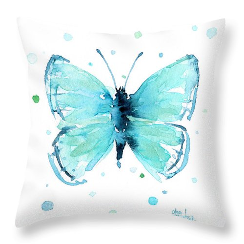 Watercolor Throw Pillow featuring the painting Blue Abstract Butterfly by Olga Shvartsur