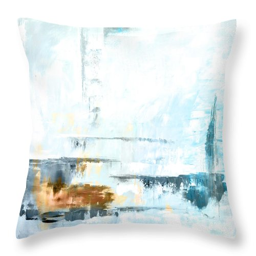 Blue Throw Pillow featuring the painting Blue Abstract 12m1 by Voros Edit