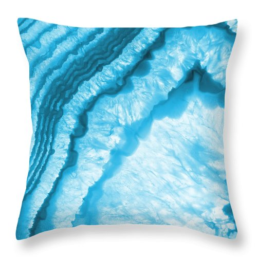 Blue & White Geode Rock Agate Slice Throw Pillow featuring the photograph Blue Agate Slice by The Quarry