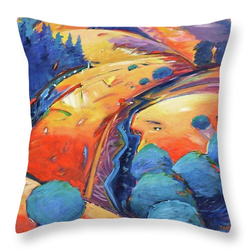 Hills Throw Pillow featuring the painting Blue and Gold by Gary Coleman