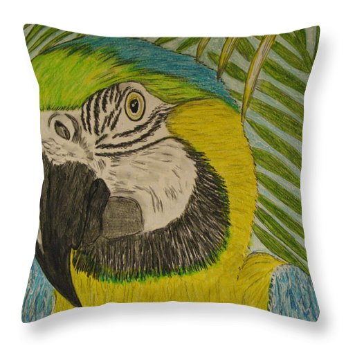 Macaw Throw Pillow featuring the painting Blue and Gold Macaw Parrot by Kathy Marrs Chandler