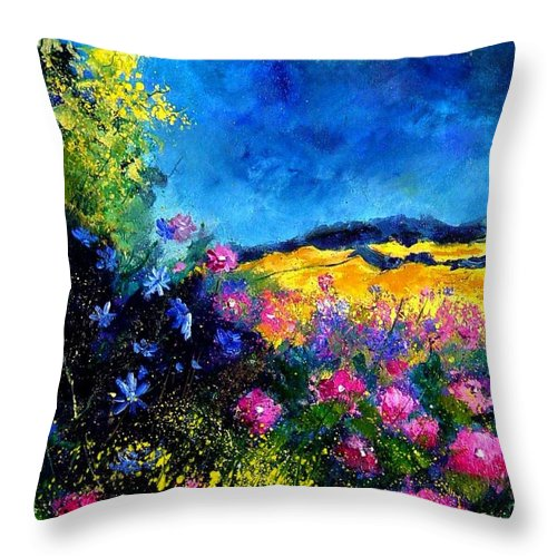 Landscape Throw Pillow featuring the painting Blue and pink flowers by Pol Ledent
