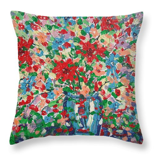 Painting Throw Pillow featuring the painting Blue And Red Flowers. by Leonard Holland
