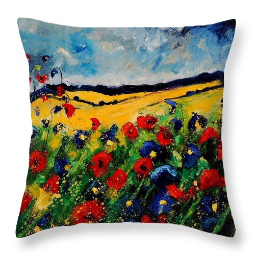 Poppies Throw Pillow featuring the painting Blue and red poppies 45 by Pol Ledent