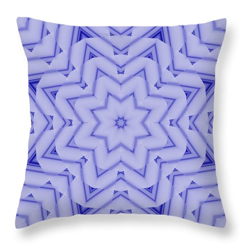 Fractal Throw Pillow featuring the digital art Blue And White Fractal Star by Ruth Moratz