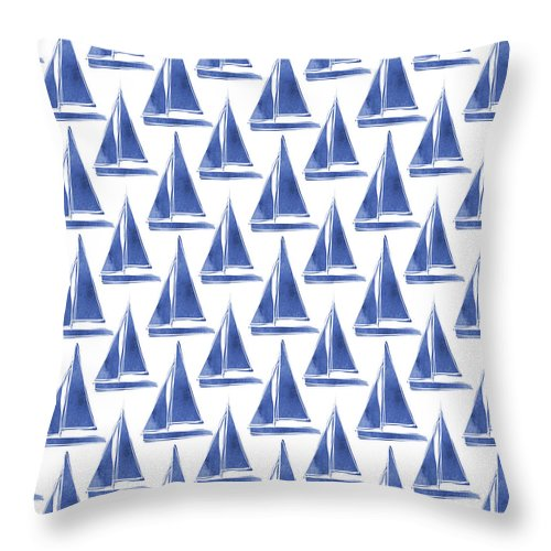 Boats Throw Pillow featuring the digital art Blue And White Sailboats Pattern- Art By Linda Woods by Linda Woods