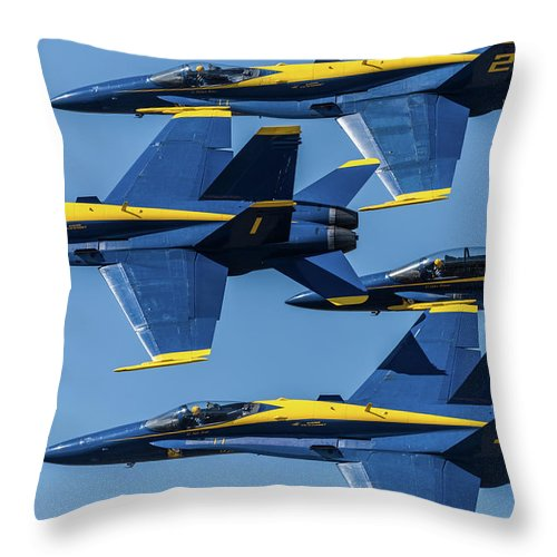 Blue Angels Throw Pillow featuring the photograph Blue Angels by Abraham Schoenig