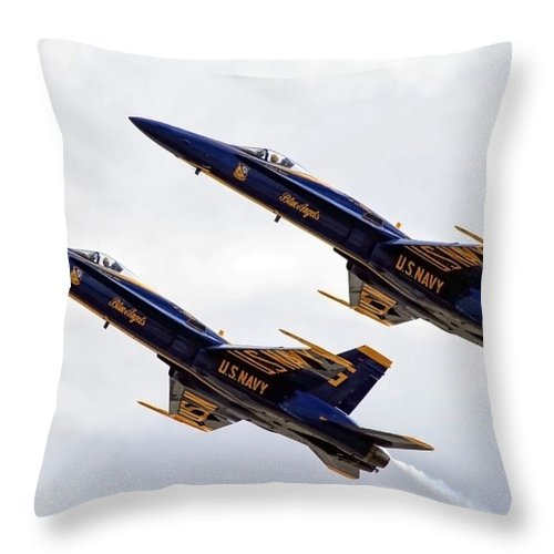 Blue Angels Throw Pillow featuring the photograph Blue Angels Iv by Gigi Ebert