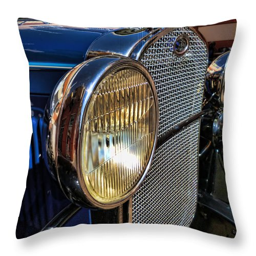 Antique Throw Pillow featuring the photograph Blue Antique Auto by Nora Martinez