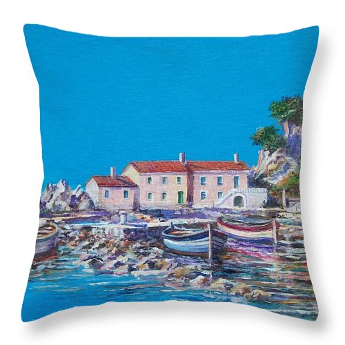 Original Painting Throw Pillow featuring the painting Blue Bay by Sinisa Saratlic
