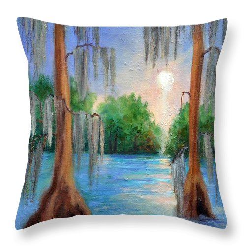 Bayou Landscape Throw Pillow featuring the painting Blue Bayou by Ginger Concepcion