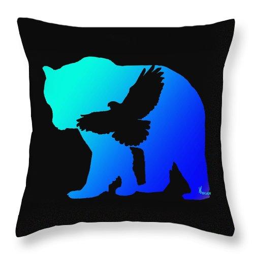 Bear Throw Pillow featuring the digital art Blue Bear  -024 by Will Logan