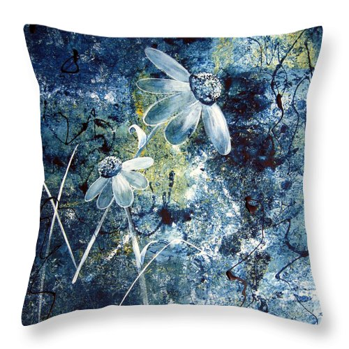 Abstract Throw Pillow featuring the painting Blue Beauties by Ruth Palmer