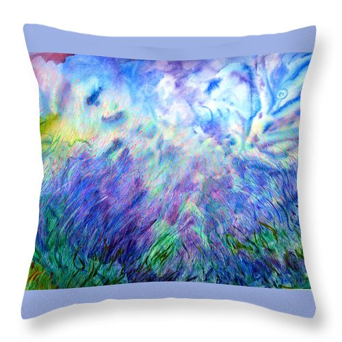 Abstract Throw Pillow featuring the painting Blue Bedroom by J E T I I I