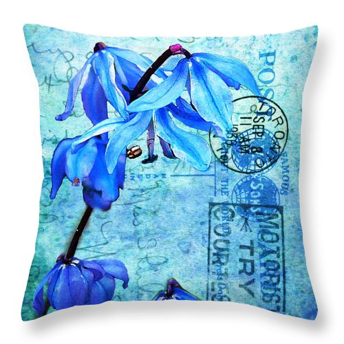 Flowers Throw Pillow featuring the photograph Blue Bells On Vintage 1936 Postcard by Nina Silver