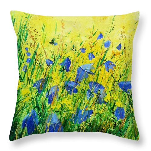 Poppies Throw Pillow featuring the painting Blue Bells by Pol Ledent