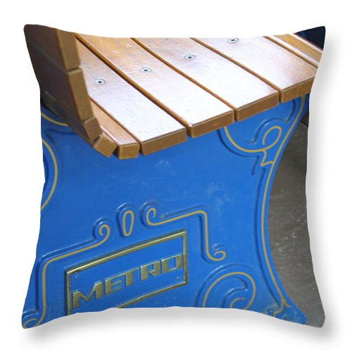 Bench Throw Pillow featuring the photograph Blue Bench by Rick Monyahan