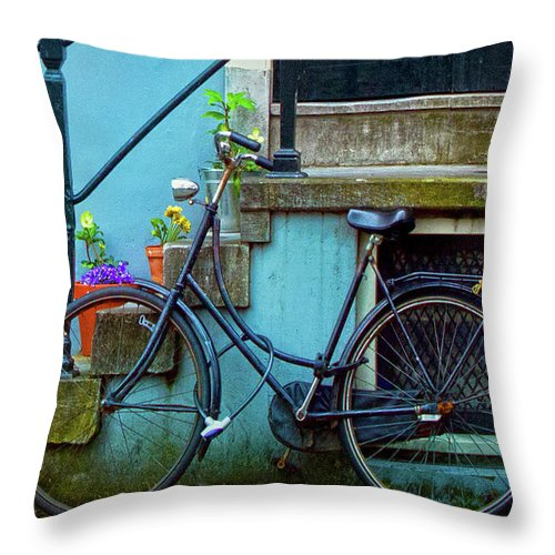 Contest Winner Throw Pillow featuring the photograph Blue Bike by Jill Smith