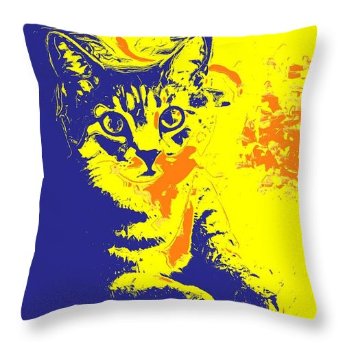 Cat Throw Pillow featuring the photograph Blue Bink by Donna Bentley