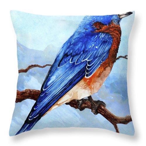 Blue Bird Throw Pillow featuring the painting Blue Bird by Curtiss Shaffer