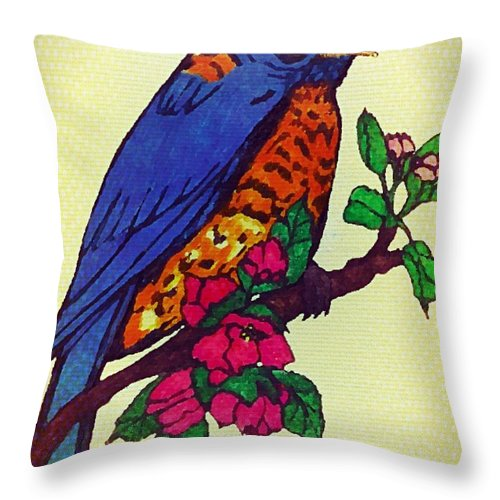 Blue Throw Pillow featuring the drawing Blue Bird by MaryLee Parker