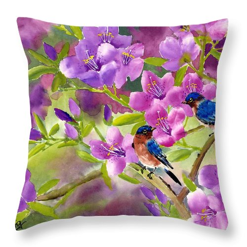 Blue Birds Throw Pillow featuring the painting Blue Birds With Azalea by Eileen Fong