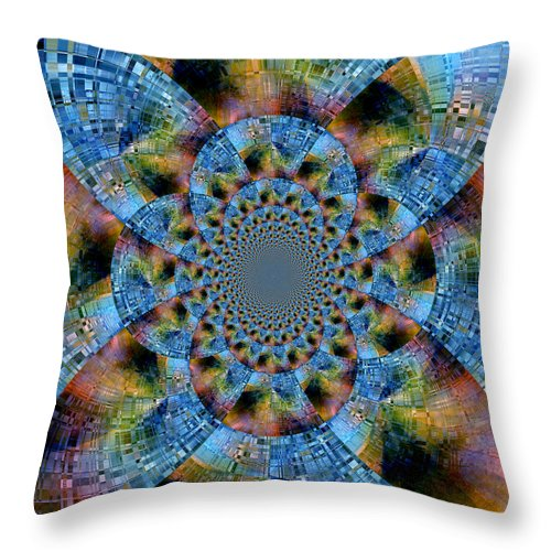 Abstract Throw Pillow featuring the digital art Blue Bling by Ruth Palmer