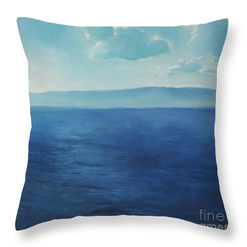 Lin Petershagen Throw Pillow featuring the painting Blue Blue Sky Over The Sea by Lin Petershagen