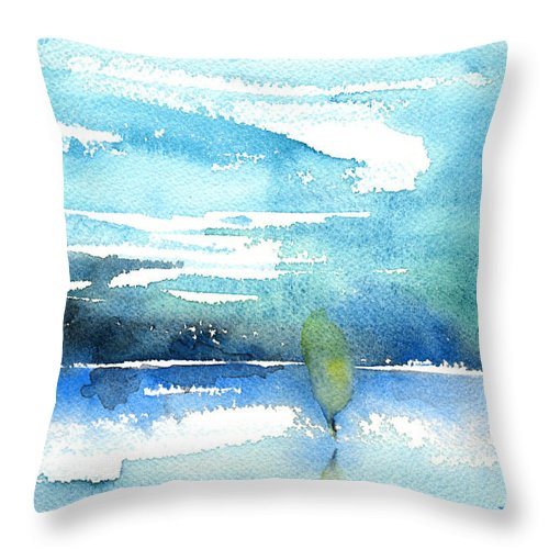 Impressionism Throw Pillow featuring the painting Blue Blue The World Is Blue by Miki De Goodaboom