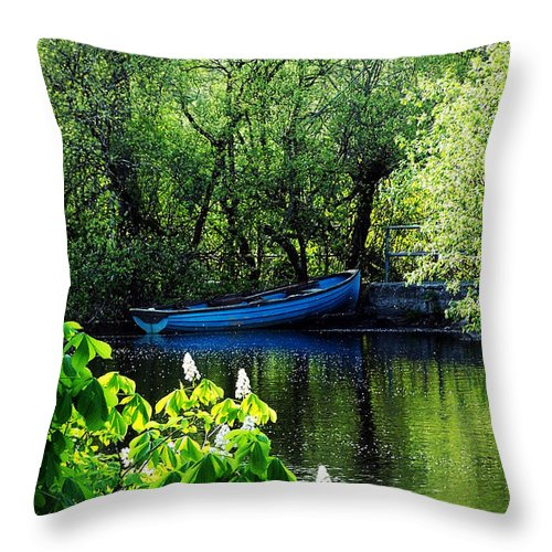 Irish Throw Pillow featuring the photograph Blue Boat Cong Ireland by Teresa Mucha