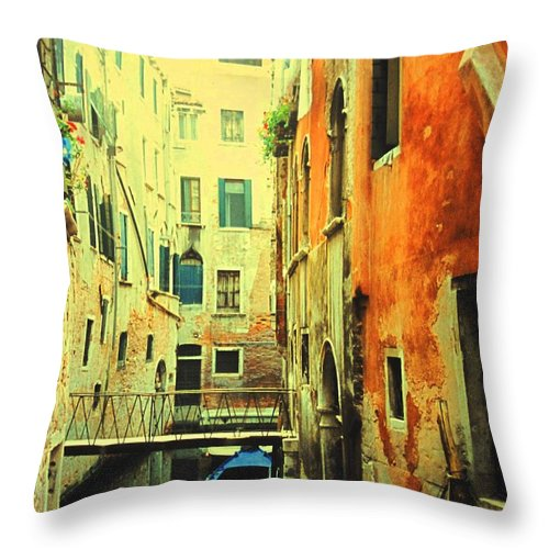 Venice Throw Pillow featuring the photograph Blue Boat In Venice by Ian MacDonald