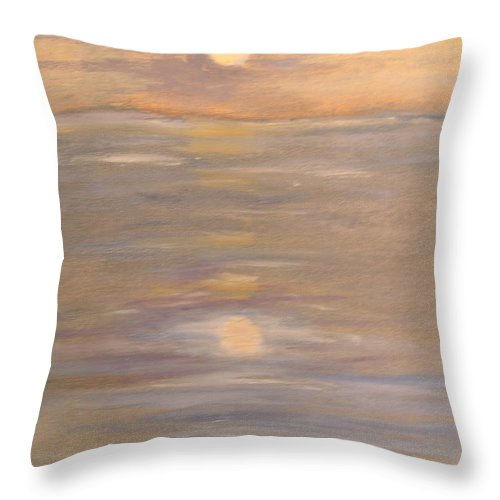 Boat Throw Pillow featuring the painting Blue boat by Patricia Caldwell
