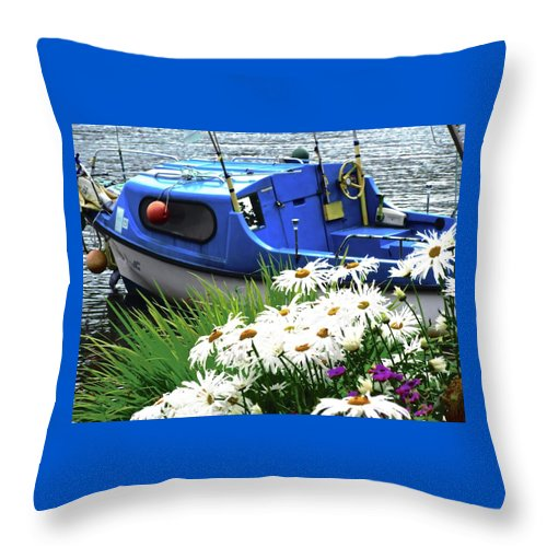 Boat Throw Pillow featuring the photograph Blue Boat With Daisies by Stephanie Moore